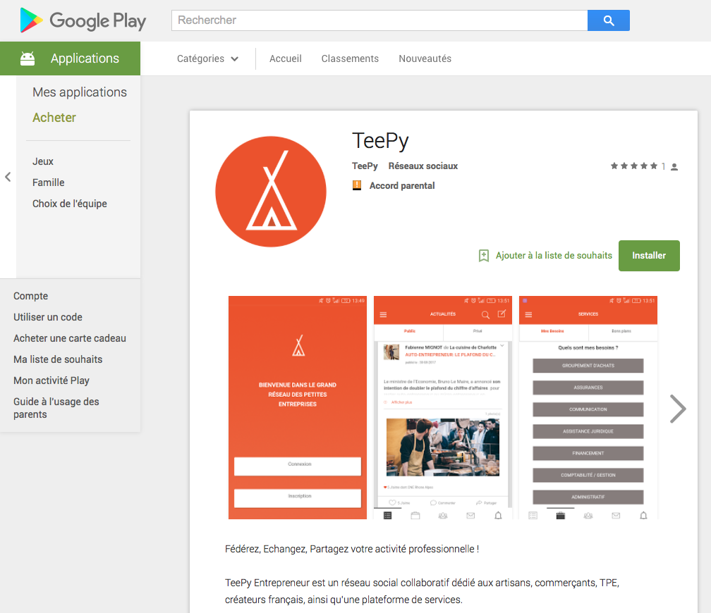 Application TeePy sur Google Play